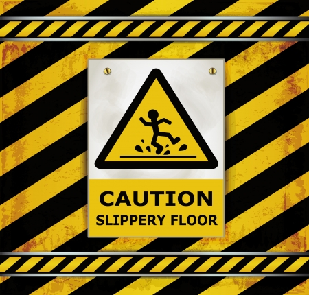 slips: Sign caution blackboard caution slippery floor  Illustration