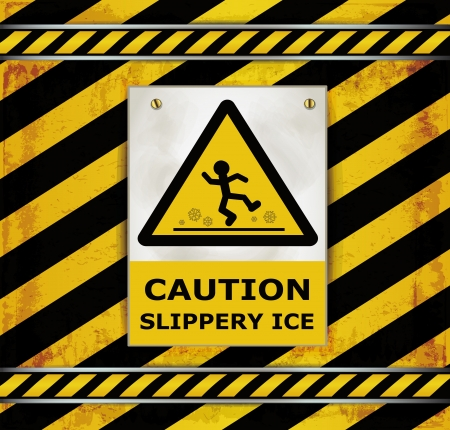 cat call: Sign caution blackboard caution slippery ice  Illustration