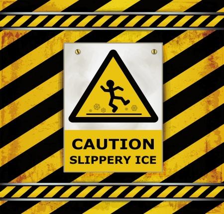 slippery: Sign caution blackboard caution slippery ice  Illustration