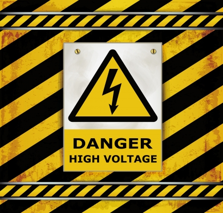 high voltage sign: Sign caution blackboard danger high voltage