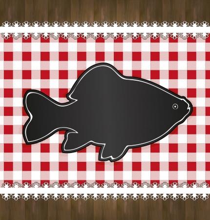 raster blackboard menu tablecloth lace fish Stock Photo - 16590070