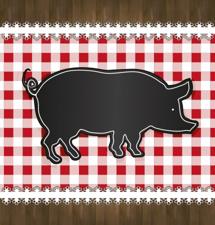 raster blackboard menu tablecloth lace pig Stock Photo - 16590068