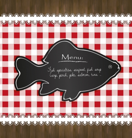 blackboard menu tablecloth lace fish Vector
