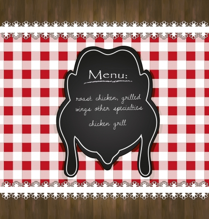 blackboard menu tablecloth lace chicken Vector