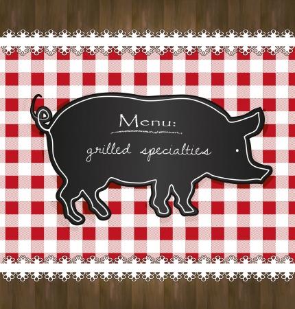 blackboard menu tablecloth lace pig