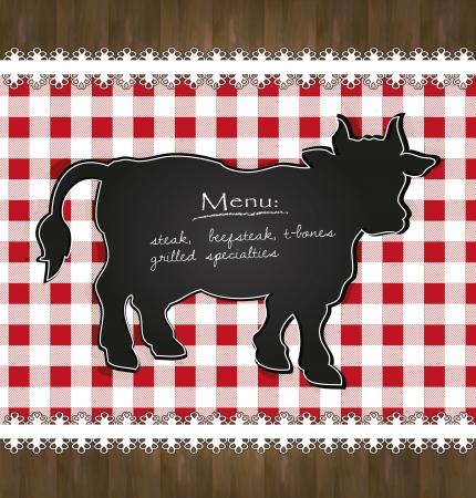 speciality: blackboard menu tablecloth lace cow bull