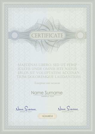 prospectus: vector Certificate guilloche blue green vertical A4