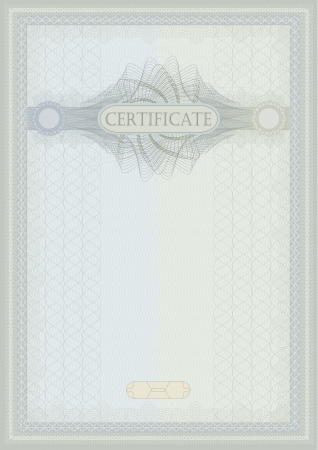 raster Certificate guilloche blue green vertical A4