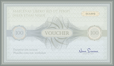 valuation: voucher green blue guilloche certificate  Illustration