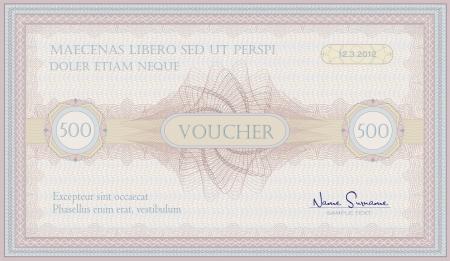 voucher pink blue guillotine certificate  Vector