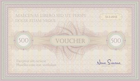voucher pink green guillotine certificate  Vector