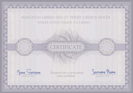 vector Certificate violet guilloche voucher template horizontal A4 format Vector