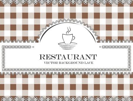 place mat: coffee blackboard lace menu restaurant ,cloth pattern vector Illustration