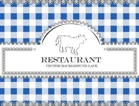 cow bull blackboard lace menu restaurant ,cloth pattern vector Vector