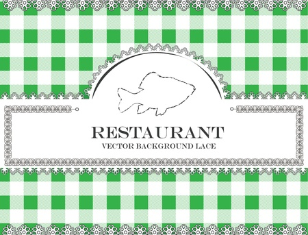 fish blackboard lace menu restaurant ,cloth pattern vector Stock Vector - 20948882