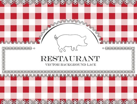 red tablecloth: pig blackboard lace menu restaurant ,cloth pattern vector Illustration