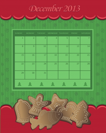 Calendar December Christmas 2013 gingerbread green red  Vector