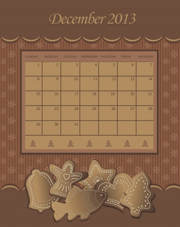 Calendar December Christmas 2013 gingerbread chocolate  Vector