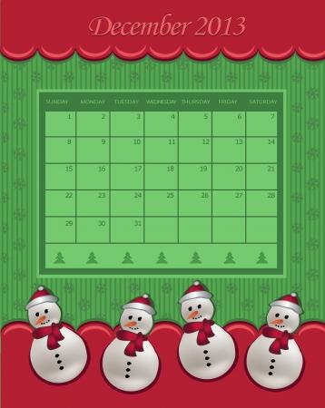 Calendar December Christmas 2013 snowman green red  Vector