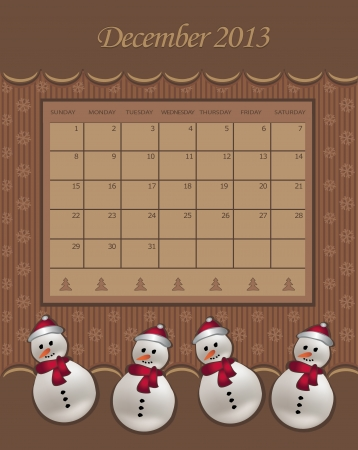 Calendar December Christmas 2013 snowman chocolate  Vector