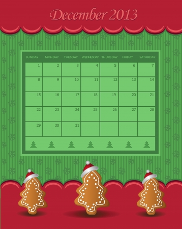 Calendar December Christmas 2013 tree green red  Vector