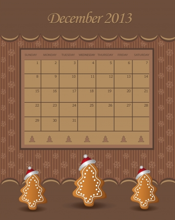 Calendar December Christmas 2013 tree chocolate  Vector
