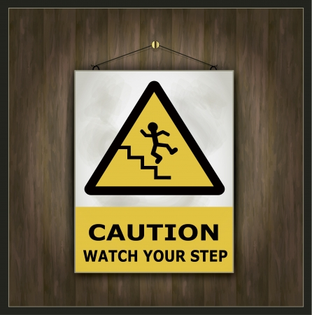 cat call: blackboard sign caution watch your step wood  Illustration