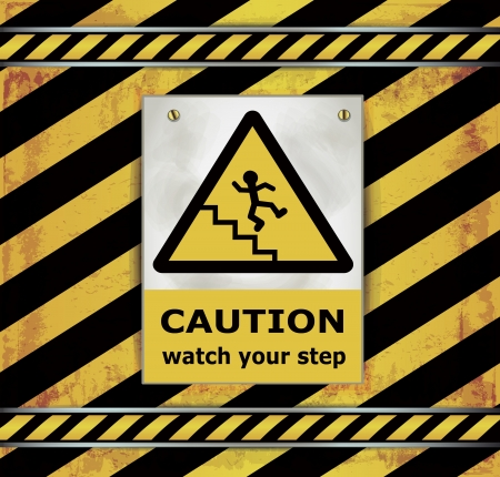 Sign caution blackboard watch your step  Vector