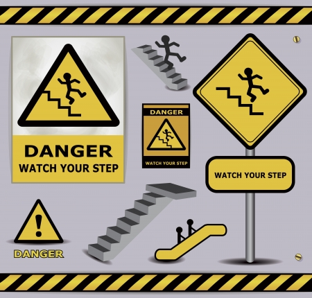 cat call: sign danger watch your step warning collection Illustration