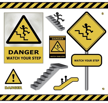 raster sign danger watch your step warning collection isolated Stock Photo - 21584829