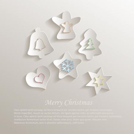 christmas color paper 3d Vector