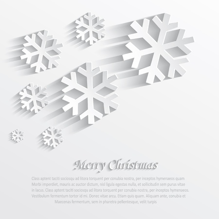3d paper art: christmas snowflake white paper 3D  Illustration