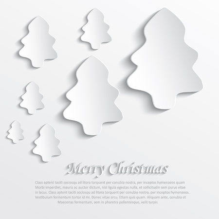 3d paper art: christmas tree white paper 3D Illustration