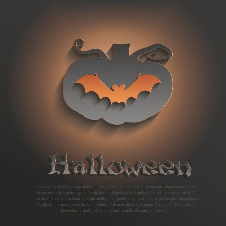 3d halloween: vector halloween pumpkin bat dark paper 3D Illustration