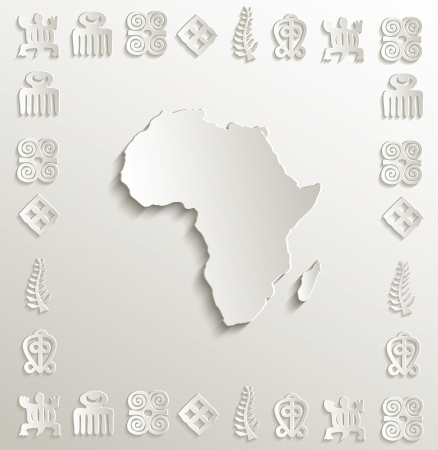 papery: vector Africa map symbol frame paper 3D