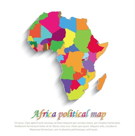 Africa political colors map paper 3D individual states puzzle Vector