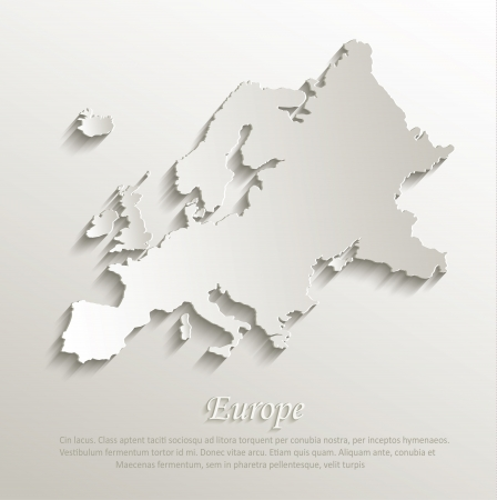 Europe map card paper 3D natural Illustration