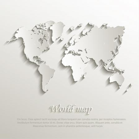 Carte du monde carte papier 3D nature