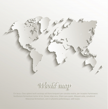 shadow effect: World map card paper 3D nature Illustration