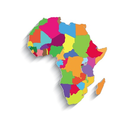 raster Africa political colors map paper 3D individual states puzzle photo