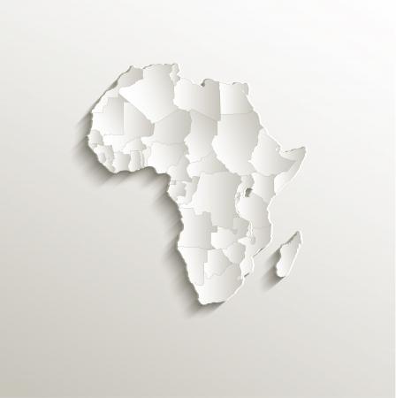 continente africano: raster África política natural mapa de papel 3D estados individuales del rompecabezas Foto de archivo