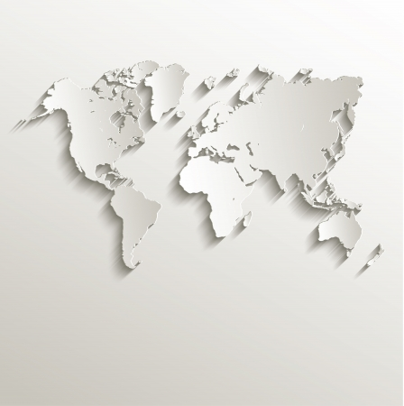 raster World map card paper 3D nature