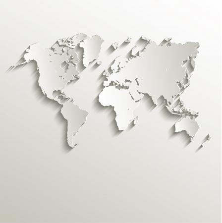 Raster World map carte papier 3D nature Banque d'images - 22643253