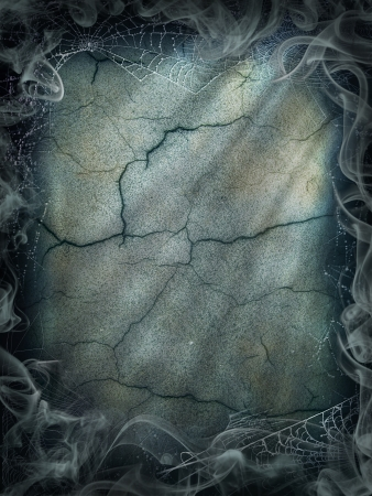 Halloween magic smoke background magical dark cobweb Stock Photo