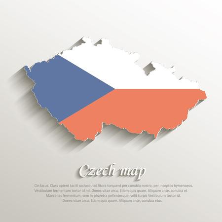 Czech map vintage color flag paper 3D Vector