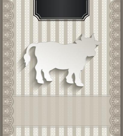 raster Menu restaurant lace natural paper 3D cow photo