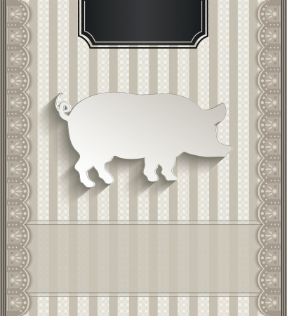 raster Menu restaurant lace natural paper 3D pig photo