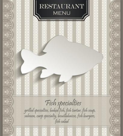 papier naturel: Menu Restaurant dentelle poisson naturel 3D de papier