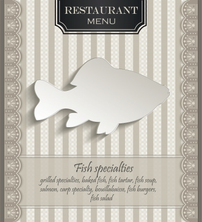 Menu restaurant lace natural paper 3D fish Stock Vector - 22643308