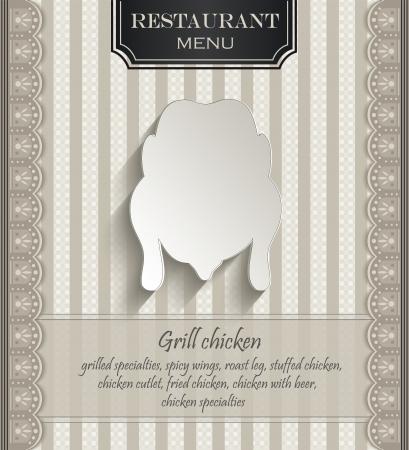 papier naturel: vecteur Menu restaurant de poulet dentelle 3D de papier naturel